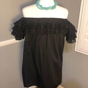 Off the shoulder black Mexican style blouse